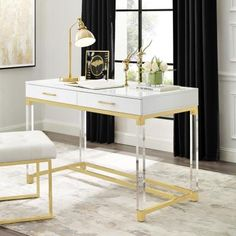 Inspired Home Caspian Modern/Contemporary White Writing Desk at Lowe's. The unusual design of this writing desk/vanity/makeup table/computer desk/console table make it a striking addition to any space, creating shimmering and Furniture, Inspired Homes, White Writing Desk, Home, Storage Spaces, Upholstered Storage, Gold Desk, Glam Furniture, Desk