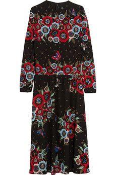 Valentino Printed silk midi dress   NET-A-PORTER