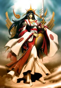 """Amaterasu - Japanese sun goddess.  Major deity of Shinto religion.  Goddess of sun and universe.  Her name means """"shining heaven.""""  8th century text Kojiki and Nihon Shoki describe her being born from Izanagi-no-Mikoto while he was purifying himself after entering Yomi, the underworld.  Amaterasu came from his left eye."""
