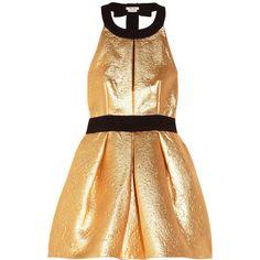 Miu Miu Crepe-trimmed metallic brocade dress (27 160 UAH) ❤ liked on Polyvore featuring dresses, vestidos, miu miu, cocktail dresses, gold, short cocktail dresses, loose dresses, short loose dresses, halter neck dress and metallic gold dress