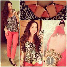 Coral skinny jeans, black and white print top, Ann Taylor statement necklace Calvin Klein wedges Speidel rose gold boyfriend watch, jcrew chain bracelet, Stella Dot renegade bracelet