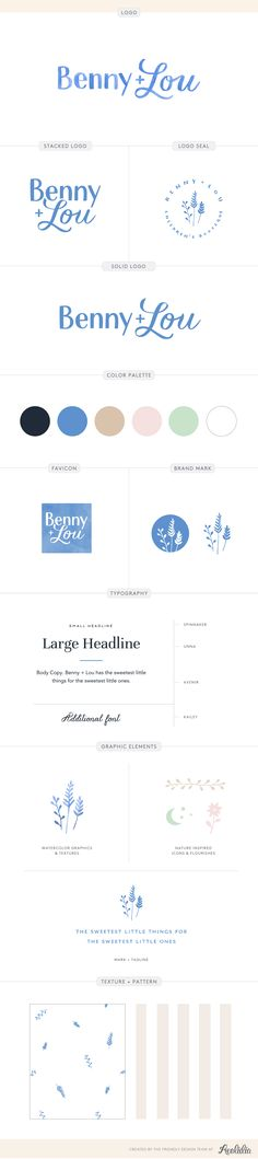 Brand board and logo design by Aeolidia for Benny + Lou. A logo and brand identity design for an online children's clothing boutique with a classic, yet playful style.