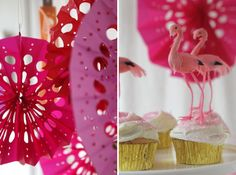 Punched Tissue Paper Fans DIY   via Oh Happy Day  *cute cupcake toppers too!
