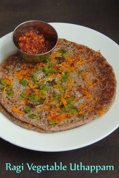Priya's Versatile Recipes: Ragi Vegetable Uthappam/Finger Millet Vegetable Oothappam/Vegetable Ragi Uthappam