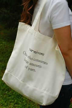 Yarnetopia 100% Natural Cotton Canvas Yarn Tote Bag (Perfect Gifts for Knitters, Crocheters, and Yarn Lovers)