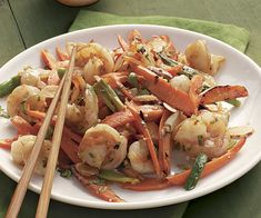 Stir-Fried Shrimp and Carrots with Toasted Almonds recipe