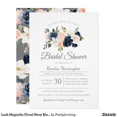 Shop Lush Magnolia Floral Navy Blue Pink Bridal Shower Invitation created by PrettyInviting. Personalize it with photos & text or purchase as is! Zazzle Invitations, Bridal Shower Invitations, Party Invitations, Bridal Shower Flowers, Beautiful Baby Shower, Gender Neutral Baby Shower, Pink Watercolor, Magnolia, Navy Blue