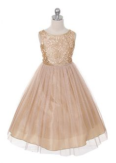 Champagne Sequin Bodice with Glitter Mesh Girl Dress