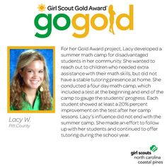 A BIG congrats to Lacy on earning her Girl Scout Gold Award! Lacy conducted a summer math camp for disadvantaged students in her community. She even continued to work with and tutor some of them throughout the year! Awesome work, Girl Scout!
