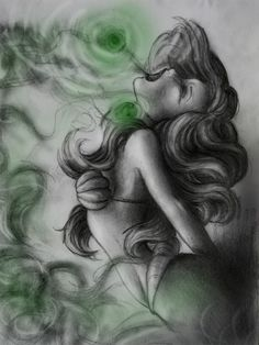This is an epic drawing of Ariel when her   voice is being taken from her