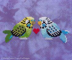 Cute Budgies Cross Stitch Pattern P Cross Stitch Bird, Beaded Cross Stitch, Counted Cross Stitch Patterns, Cross Stitch Designs, Cross Stitching, Cross Stitch Embroidery, Foto Baby, Cute Birds, Seed Beads