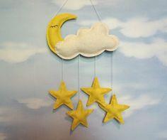Baby Mobile felt cloud, moon, star,  Good Night, Wall Hanging, Window Hanging, nursery, Hanging Baby Mobile, Nursery Crib
