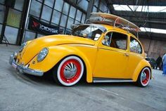Yellow Beetle with red rims #beetle #vw #bug