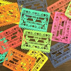 Mini Papel Picado Banners, Mexican Fiesta Decorations, Personalized for Weddings, Engagement Parties, Bachelorettes, Cinco de Mayo by LulaFlora on Etsy https://www.etsy.com/listing/242898246/mini-papel-picado-banners-mexican-fiesta