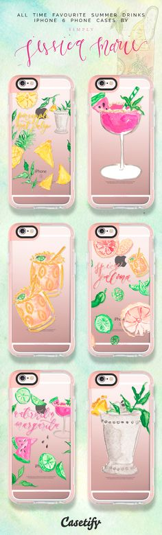 Top 6 summer drinks illustration iPhone 6 protective phone case designs | Click through to see more see through iPhone phone case ideas >>> https://www.casetify.com/artworks/kZmcCJc85A #food | @casetify