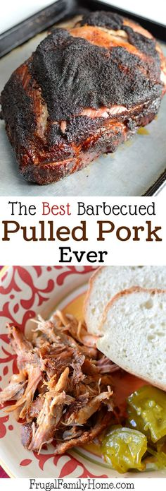 This is a great recipe tutorial for how to make bbq pulled pork. Ive made pulled pork in the crock pot or slow cooker before but it just didnt turn out that great, it was a little stringy. But this is the best pulled pork Ive made. It starts with a dry Pulled Pork Meat, Best Pulled Pork Recipe, Barbecue Pulled Pork, Making Pulled Pork, Smoked Pulled Pork, Pulled Pork Recipes, Pork Ribs, Smoked Pork But Recipes, Pulled Pork Dry Rub