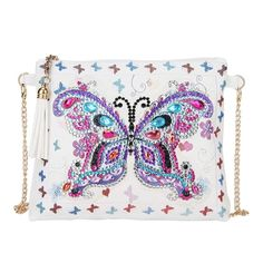 Leather Chain Crossbody Bag DIY Craft Diamond Painting Clutch Wallet Women Girl Storage Handbag Money Coin Change Purse with Zip (White) Purple Butterfly, Butterfly Flowers, Butterfly Design, Diy Clutch, Clutch Wallet, Chain Crossbody Bag, Leather Crossbody Bag, Cross Stitch Geometric, Embroidery Bags