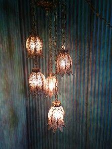Five tier vintage hollywood regency hanging tulip elegant lamp