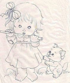 Fabric painting, screen painting, Risk and drawings to paint and crafts Hand Embroidery Patterns, Applique Patterns, Applique Quilts, Cross Stitch Embroidery, Quilt Patterns, Coloring Books, Coloring Pages, Children Sketch, Baby Drawing