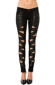 Tripp NYC Pant Faux Leather Z-Cut in Black