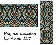Peyote pattern - beadwork - wide peyote cuff - ethnic style - bead pattern https://www.etsy.com/listing/190216656/peyote-pattern-beadwork-wide-peyote-cuff