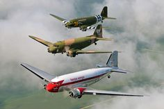"Flight of 3 DC-3's during ""The Last Time"" event in Sterling IL 2010. Lead plane ""Herpa Wings"" flown by Dan Gryder; Center plane ""Spooky"" flown by Brooks Petit; in #3 Postition ""Sky King"" flown by Scott Glover."