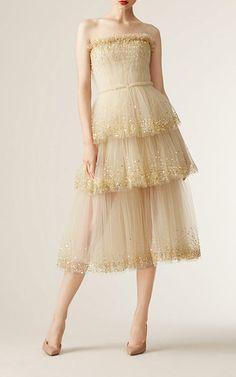 Strapless Gold Embellished Dress by CAROLINA HERRERA for Preorder on Moda Operandi