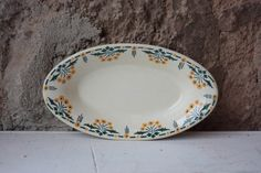 Vintage French Art Deco White Floral Ironstone Serving Plate, or Serving Dish, with Yellow and Green Flowers by FarmGateVintage on Etsy