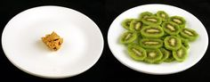 What 200 calories looks like: Peanut Butter (34 grams) vs Kiwi (328 grams)