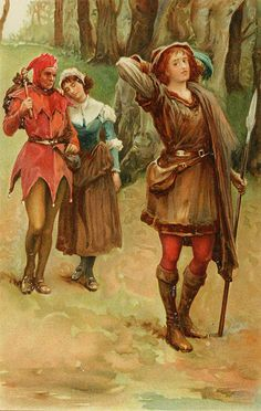 """Walter Paget (1863-1935), """"Rosalind with Touchstone and Audrey in the Forest of Arden"""" by sofi01, via Flickr"""