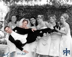 haha love this pose.. Love how the Bride and Groom are the only ones in color!