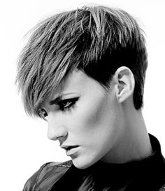 A short blonde straight coloured shaved sides hairstyle by Hair Associates