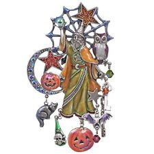 NEW KIRKS FOLLY~~ RARE~~  MAGIC OF HALLOWEEN WIZARD PIN / PENDANT SILVERTONE