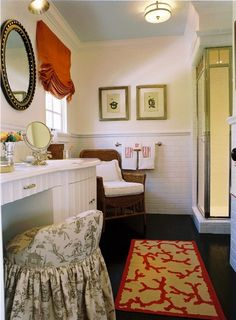 Hollywood Regency meets Preppy meets Chinoiserie in the bath by Elizabeth Dinkel in the House Beautiful Showcase House.