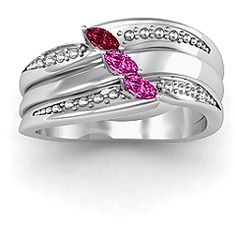 Shimmering Triple-Marquise Mother's Ring