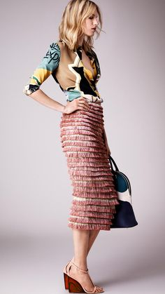 Hand-Painted Layered Fringe Pencil Skirt | Burberry