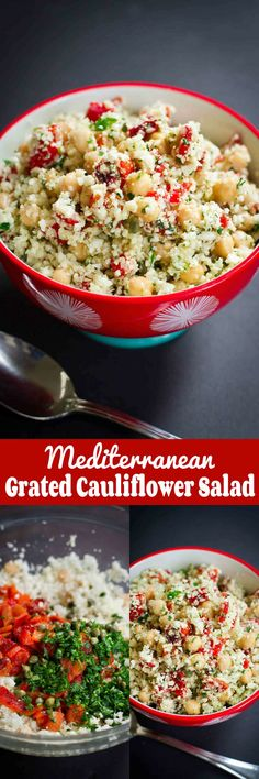 Mediterranean Grated Cauliflower Salad with Chickpeas…This vegan recipe is surprisingly filling, and every mouthful is full of flavor! Plus, it's full of nutrients. 270 calories and 6 Weight Watchers SmartPoints #VegItUp