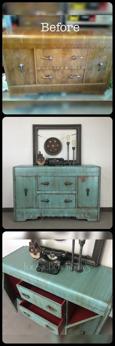 Vintage Antique Waterfall Buffet painted makeover #TootsieBoudreauxs