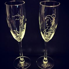 Personalised beauty and the beast champagne flutes