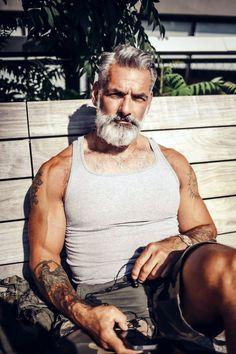 Bearded Men: The 22 Most Awesome Ol.der Men We've Ever Seen. Anthony Varrecchia, Grey Hair Men, Men Over 50, Beard Game, Grey Beards, Beard Lover, Hommes Sexy, Mature Men, Hair And Beard Styles