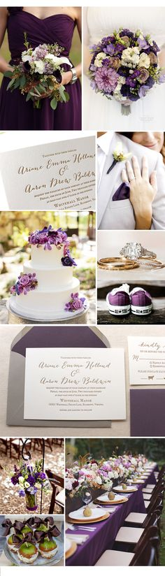 Wildflower Letterpress Printed Wedding Invitation - Modern, purple, gold, grey, liner, script, rustic.
