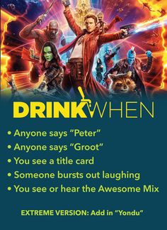 Guardians of the Galaxy Vol. 2 Drinking Game – Drink When Guardians of the Galaxy Vol. 2 Drinking Game – Drink When,Marvel Drink When Guardians of the Galaxy Vol 2 Drinking Game. Drinking Game Rules, Movie Drinking Games, Drinking Games For Parties, Jenga, Twister, Movie Night Party, Game Night, Guardians Of The Galaxy Vol 2, Burst Out Laughing