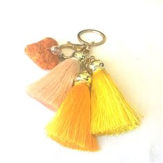 cheerful and fun needle-felted Heart with Tassels Key Ring or Bag Bling | handmade by FeltByNarelle on Etsy | Gold Coast, Australia