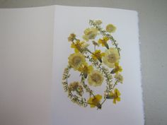 pressed flower card in yellow and green by artybea on Etsy, $5.00