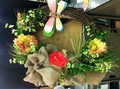 Large Wreath w/ Burlap & Large Drangonfly by NG