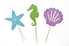 Items similar to Glitter Seahorse Cupcake Toppers - Under the Sea Cupcake Toppers - Set of 12 - Under the Sea Party Decor // Mermaid Birthday Party Supplies on Etsy Tropical Party Decorations, Mermaid Party Decorations, Diy Birthday Decorations, Bachelorette Party Decorations, Mermaid Parties, Third Birthday Girl, 1st Birthday Party For Girls, Little Mermaid Birthday, Birthday Diy