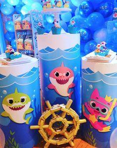 Baby Birthday Themes, Baby Boy 1st Birthday, Kids Party Themes, Birthday Party Decorations, Baby Hai, Sharks For Kids, Baby Shark Doo Doo, Shark Party, Tobias