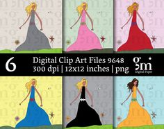 Princess Clip Art, Princess Clipart,  Instant Download,  Digital Girl Clipart, Girl Clip Art, - pinned by pin4etsy.com
