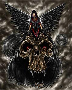 Dark Fantasy Art Love Angels | Dark Angel in Skull-150 by ~KOLEPSY on deviantART