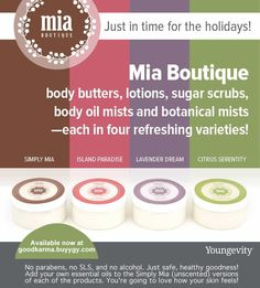 No parabens, no SLS, and no alcohol. Just safe, healthy goodness! Add your own essential oils to the Simply Mia (unscented) versions of each of the products. You're going to love how your skin feels!